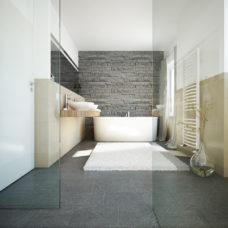 """Badezimmer der Musterwohnung vom Projekt """"Bonum12"""" in Kelkheim"""