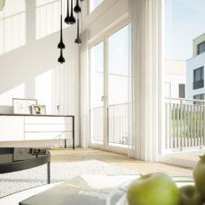 """Wohnzimmer mit Blick nach draußen der Musterwohnung vom Projekt """"Bonum12"""" in Kelkheim"""