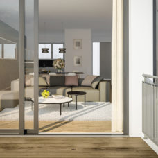 """Blick vom Balkon ins Wohnzimmer der Musterwohnung vom Projekt """"Bonum12"""" in Kelkheim"""