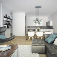 """Wohnzimmer mit Blick in die Küche der Musterwohnung vom Projekt """"Bonum12"""" in Kelkheim"""